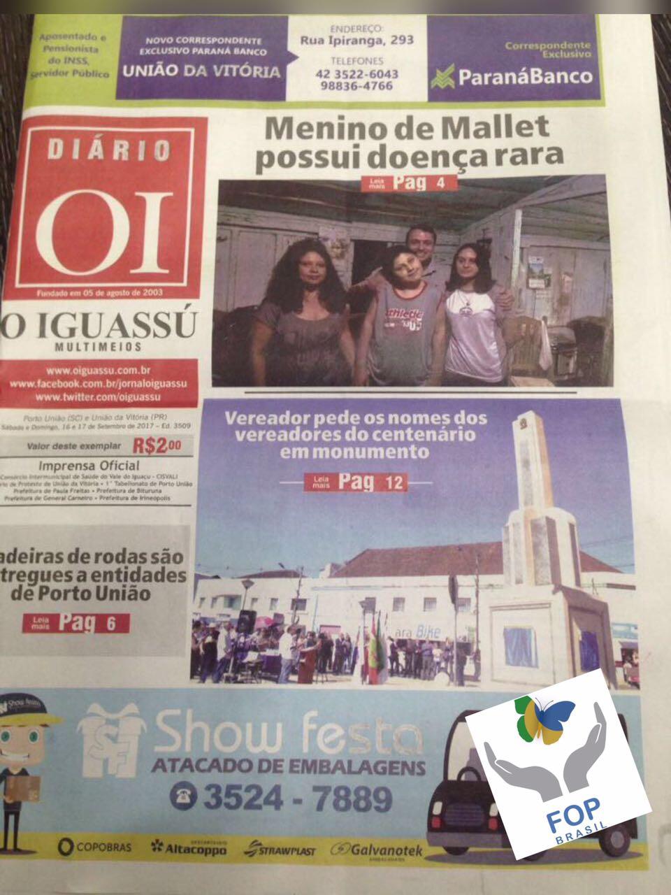 Capa Diário O Iguassú com notícia 'Menino de Mallet possui doença Rara'