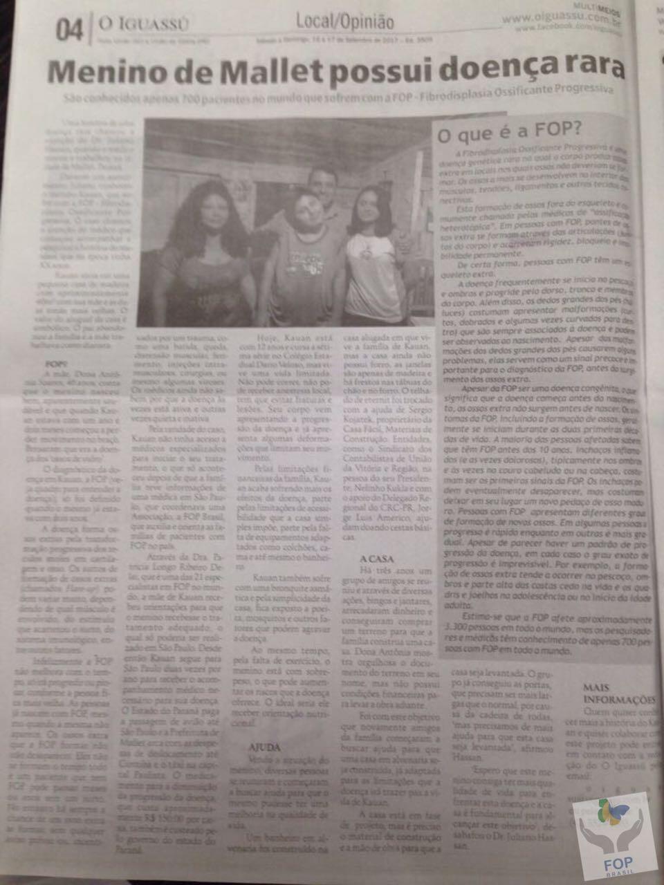 Notícia Diário O Iguassú com título 'Menino de Mallet possui doença Rara'